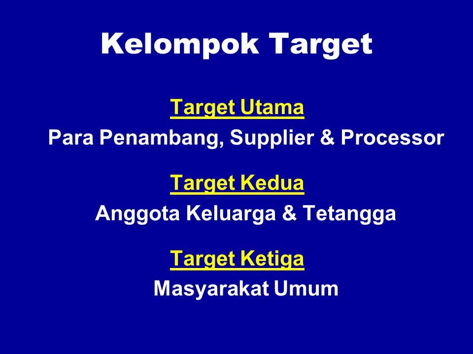 Kelompok Target Target Utama Para Penambang, Supplier & Processor Target Kedua Anggota Keluarga & Tetangga Target Ketiga Masyarakat Umum