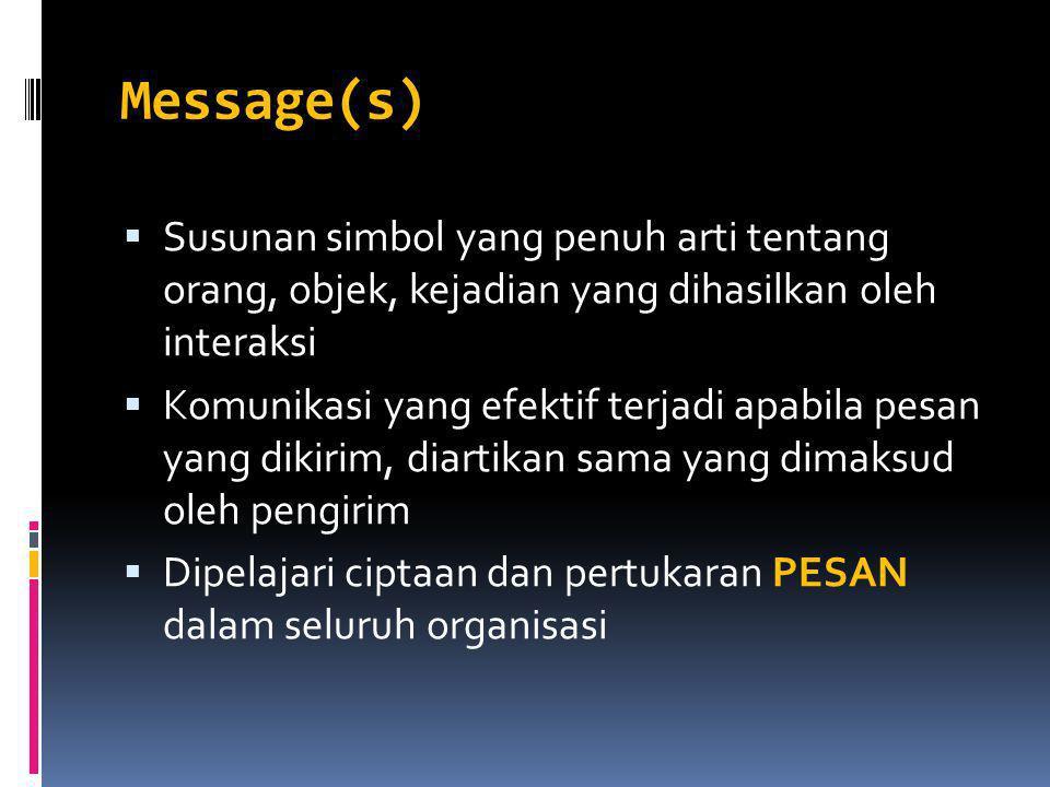 Message(s)  Susunan simbol yang penuh arti tentang orang, objek, kejadian yang dihasilkan oleh interaksi  Komunikasi yang efektif terjadi apabila pesan yang dikirim, diartikan sama yang dimaksud oleh pengirim  Dipelajari ciptaan dan pertukaran PESAN dalam seluruh organisasi