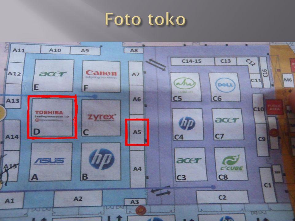  Faktor toko 1 bisa banyak pelanggannya, karena toko tersebut dekat dengan pintu masuk dan juga toko tersebut besar dan menyajikan banyak macam jenis laptop TOSHIBA.