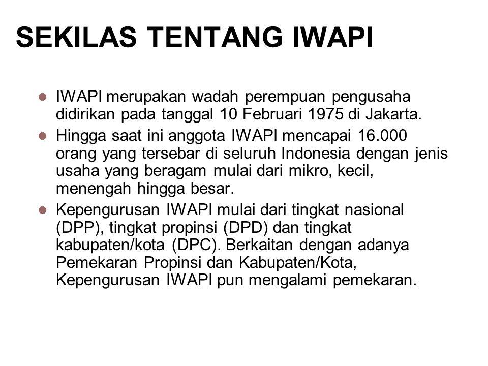 SEKILAS TENTANG IWAPI IWAPI merupakan wadah perempuan pengusaha didirikan pada tanggal 10 Februari 1975 di Jakarta. Hingga saat ini anggota IWAPI menc