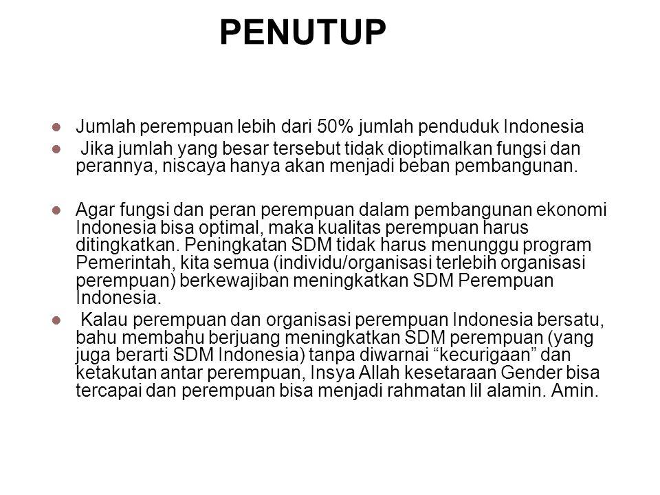 PENUTUP Jumlah perempuan lebih dari 50% jumlah penduduk Indonesia Jika jumlah yang besar tersebut tidak dioptimalkan fungsi dan perannya, niscaya hany