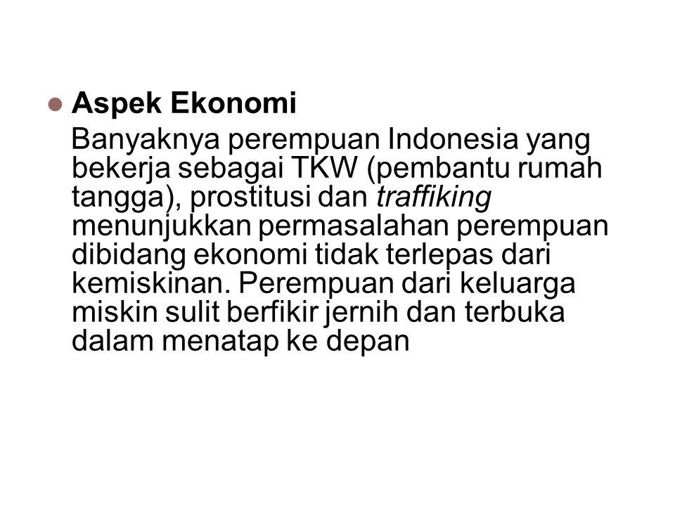 Aspek Ekonomi Banyaknya perempuan Indonesia yang bekerja sebagai TKW (pembantu rumah tangga), prostitusi dan traffiking menunjukkan permasalahan perem
