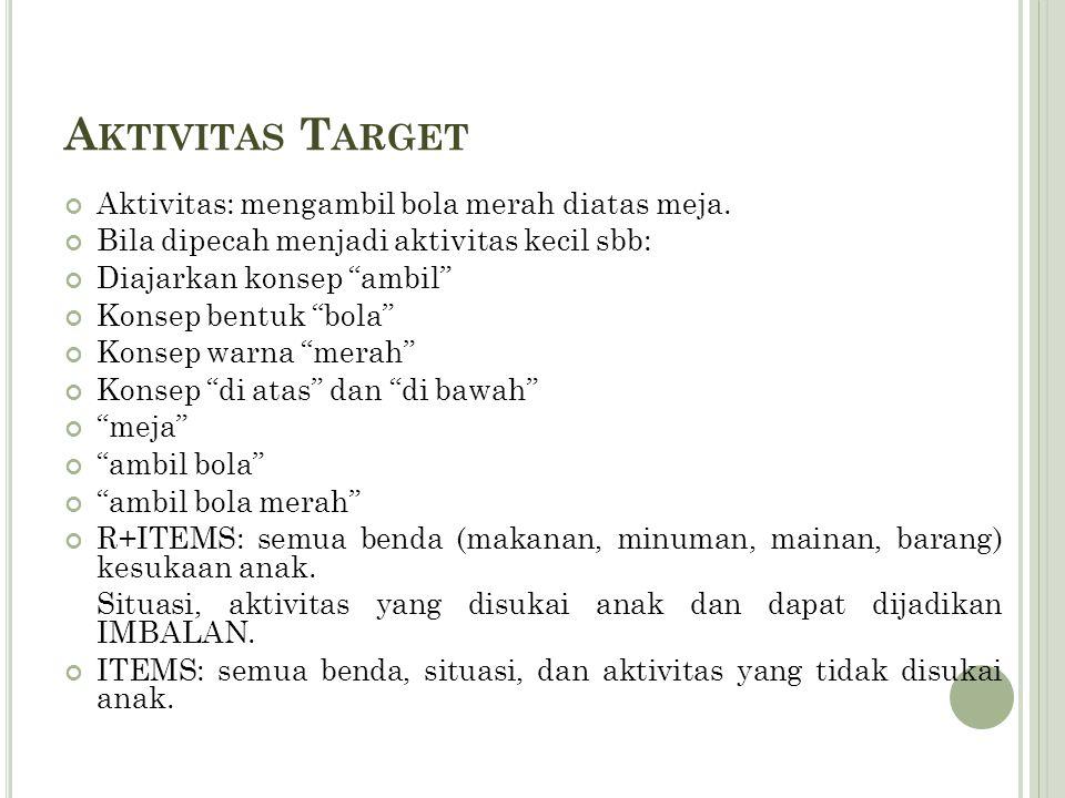 """A KTIVITAS T ARGET Aktivitas: mengambil bola merah diatas meja. Bila dipecah menjadi aktivitas kecil sbb: Diajarkan konsep """"ambil"""" Konsep bentuk """"bola"""