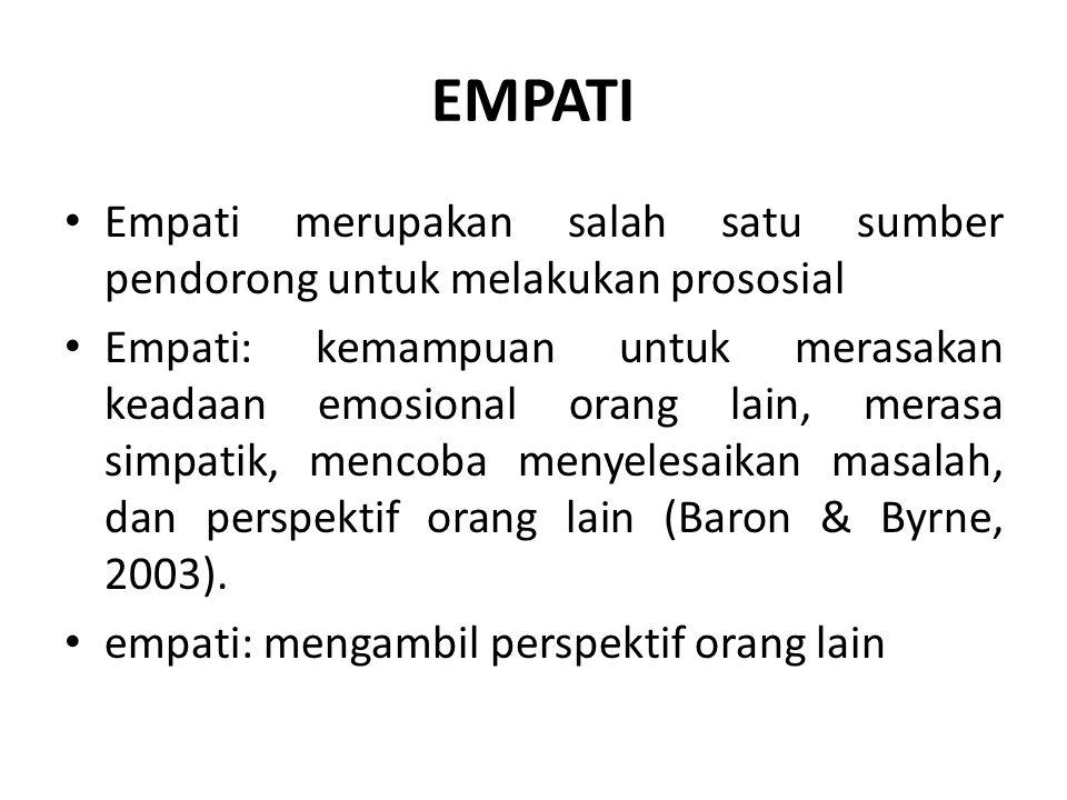 EMPATI Empati merupakan salah satu sumber pendorong untuk melakukan prososial Empati: kemampuan untuk merasakan keadaan emosional orang lain, merasa s
