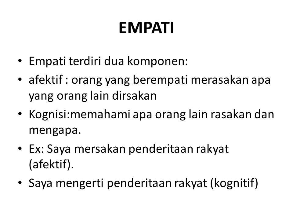 EMPATI Empati terdiri dua komponen: afektif : orang yang berempati merasakan apa yang orang lain dirsakan Kognisi:memahami apa orang lain rasakan dan mengapa.