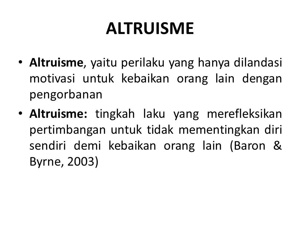 ALTRUISME Altruisme, yaitu perilaku yang hanya dilandasi motivasi untuk kebaikan orang lain dengan pengorbanan Altruisme: tingkah laku yang merefleksikan pertimbangan untuk tidak mementingkan diri sendiri demi kebaikan orang lain (Baron & Byrne, 2003)