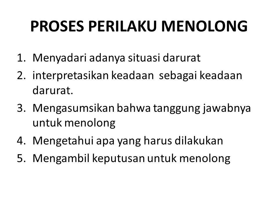 PROSES PERILAKU MENOLONG 1.Menyadari adanya situasi darurat 2.interpretasikan keadaan sebagai keadaan darurat.