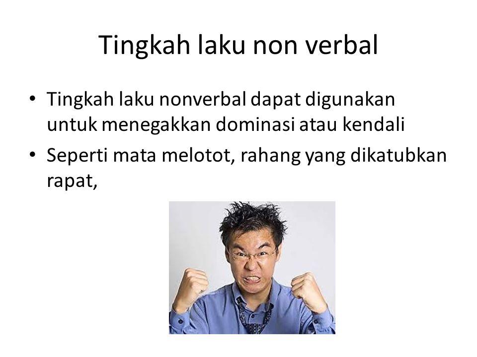 Tingkah laku non verbal Tingkah laku nonverbal dapat digunakan untuk menegakkan dominasi atau kendali Seperti mata melotot, rahang yang dikatubkan rap
