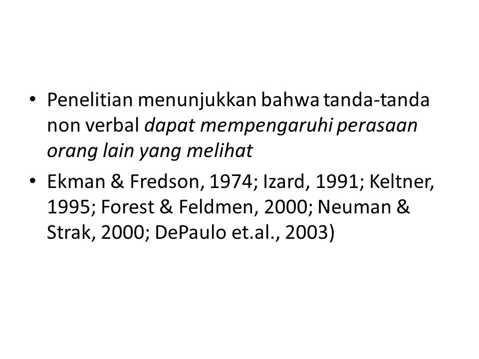 Penelitian menunjukkan bahwa tanda-tanda non verbal dapat mempengaruhi perasaan orang lain yang melihat Ekman & Fredson, 1974; Izard, 1991; Keltner, 1