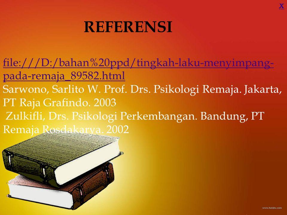 REFERENSI file:///D:/bahan%20ppd/tingkah-laku-menyimpang- pada-remaja_89582.html Sarwono, Sarlito W. Prof. Drs. Psikologi Remaja. Jakarta, PT Raja Gra