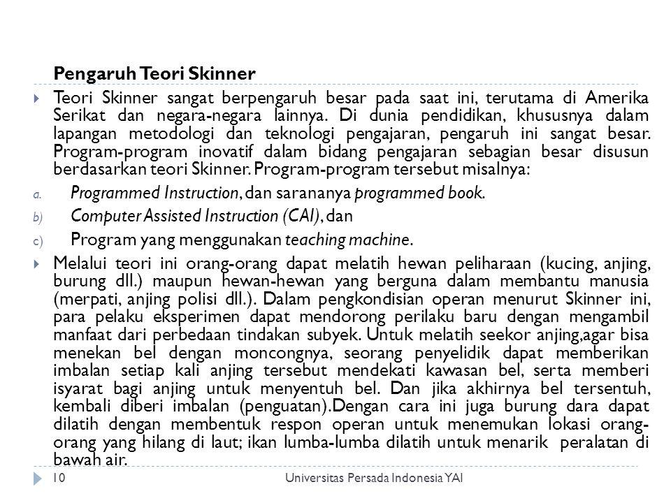 Universitas Persada Indonesia YAI10 Pengaruh Teori Skinner  Teori Skinner sangat berpengaruh besar pada saat ini, terutama di Amerika Serikat dan negara-negara lainnya.