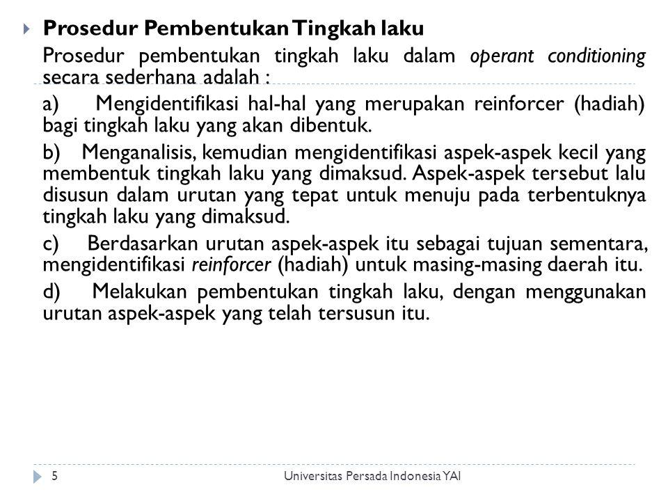 Universitas Persada Indonesia YAI6  Respon Tingkah laku adalah hubungan antara perangsang dan respon.