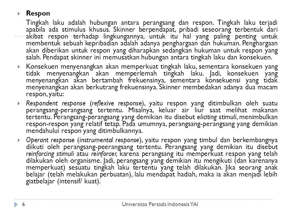 Universitas Persada Indonesia YAI7 Pola-pola respon  Apabila reinforcement didasarkan pada prinsip interval tetap, dapat diduga pola respon yang bakal muncul.