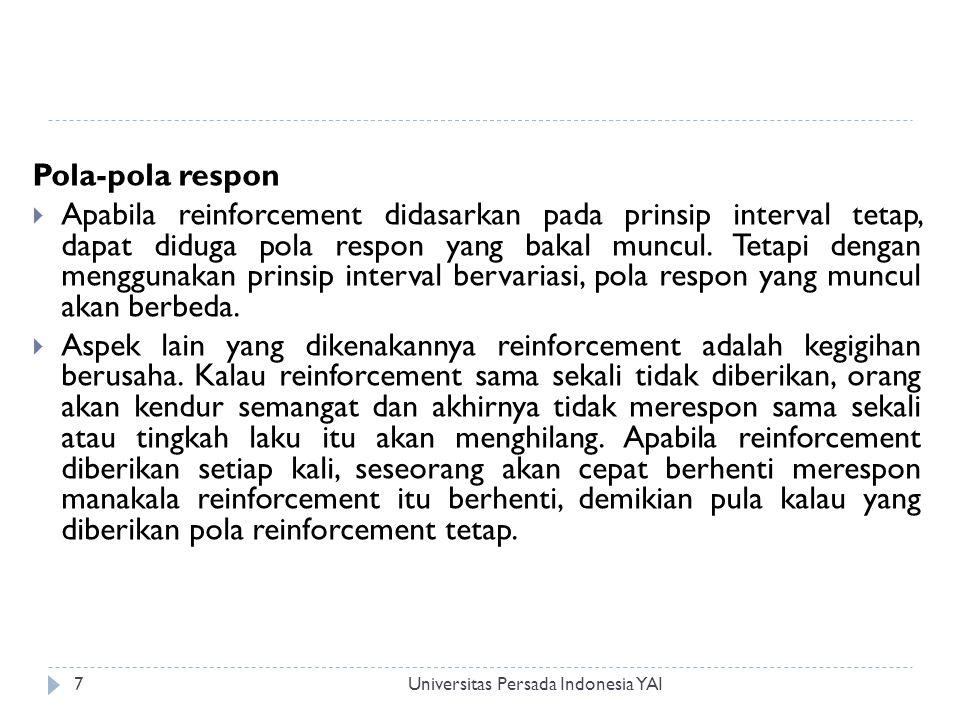 Universitas Persada Indonesia YAI8 Mengendalikan konsekuensi  Konsekuensi yang timbul dari tingkah laku tertentu dapat menyenangkan dan atau pun tidak menyenangkan bagi yang bersangkutan.