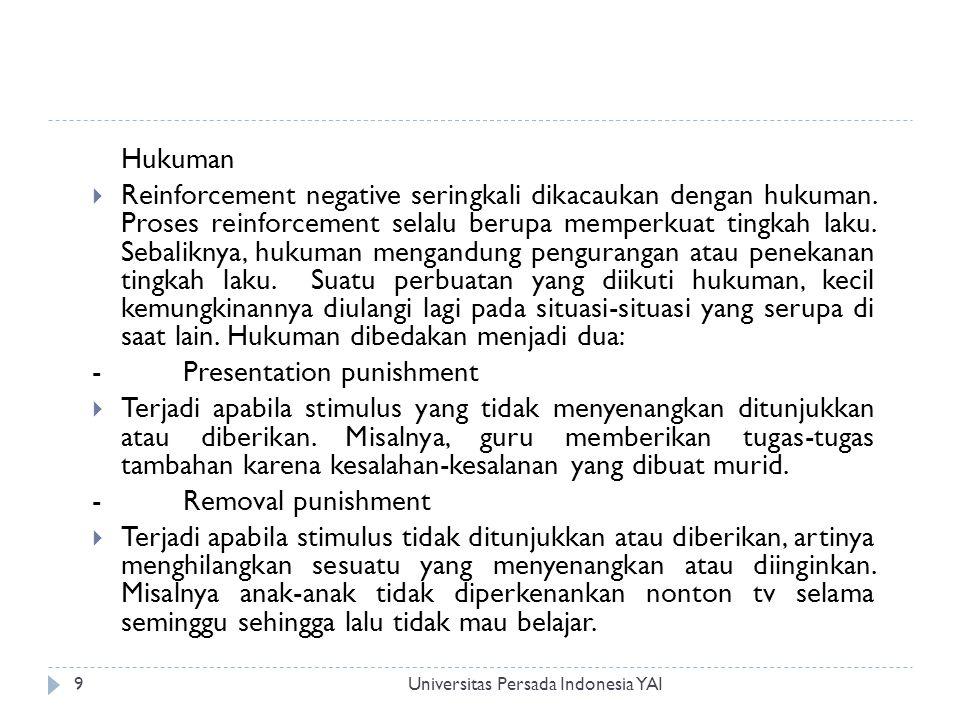 Universitas Persada Indonesia YAI9 Hukuman  Reinforcement negative seringkali dikacaukan dengan hukuman.