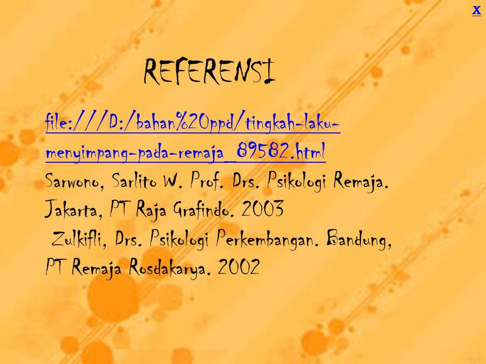 REFERENSI file:///D:/bahan%20ppd/tingkah-laku- menyimpang-pada-remaja_89582.html Sarwono, Sarlito W.