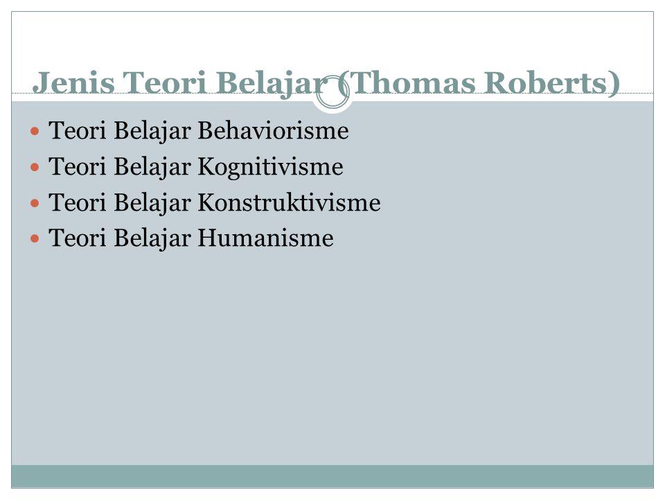 Jenis Teori Belajar (Thomas Roberts) Teori Belajar Behaviorisme Teori Belajar Kognitivisme Teori Belajar Konstruktivisme Teori Belajar Humanisme