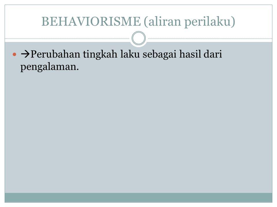 BEHAVIORISME (aliran perilaku)  Perubahan tingkah laku sebagai hasil dari pengalaman.