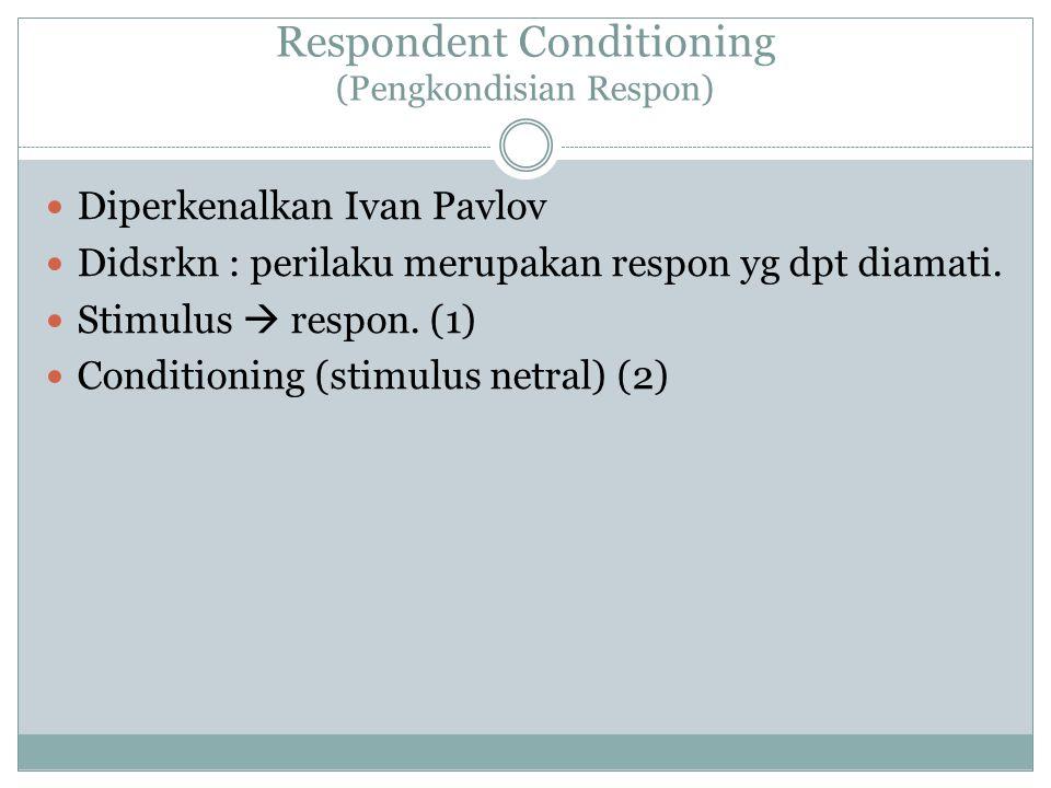 Respondent Conditioning (Pengkondisian Respon) Diperkenalkan Ivan Pavlov Didsrkn : perilaku merupakan respon yg dpt diamati. Stimulus  respon. (1) Co
