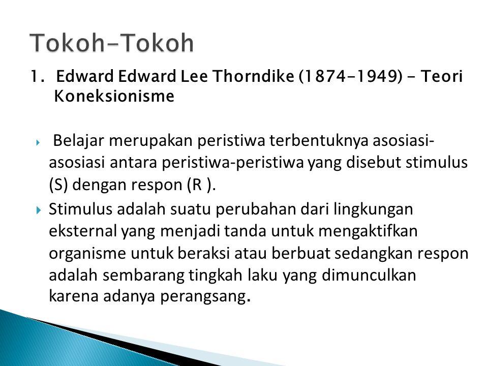 1. Edward Edward Lee Thorndike (1874-1949) - Teori Koneksionisme  Belajar merupakan peristiwa terbentuknya asosiasi- asosiasi antara peristiwa-perist