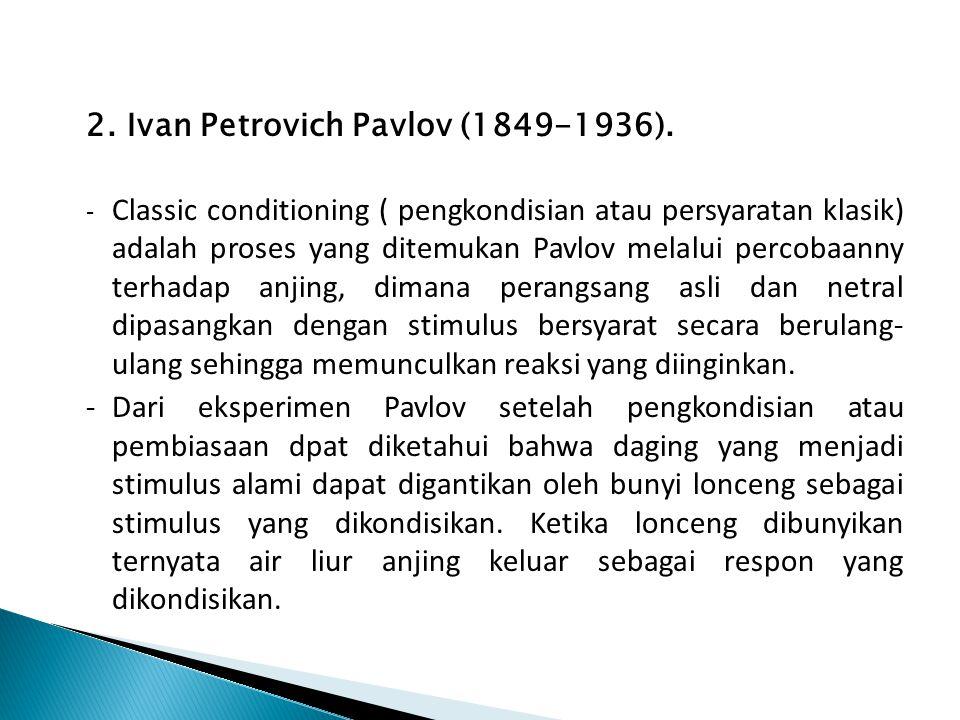2. Ivan Petrovich Pavlov (1849-1936). - Classic conditioning ( pengkondisian atau persyaratan klasik) adalah proses yang ditemukan Pavlov melalui perc