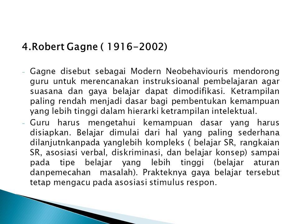 4.Robert Gagne ( 1916-2002) - Gagne disebut sebagai Modern Neobehaviouris mendorong guru untuk merencanakan instruksioanal pembelajaran agar suasana d