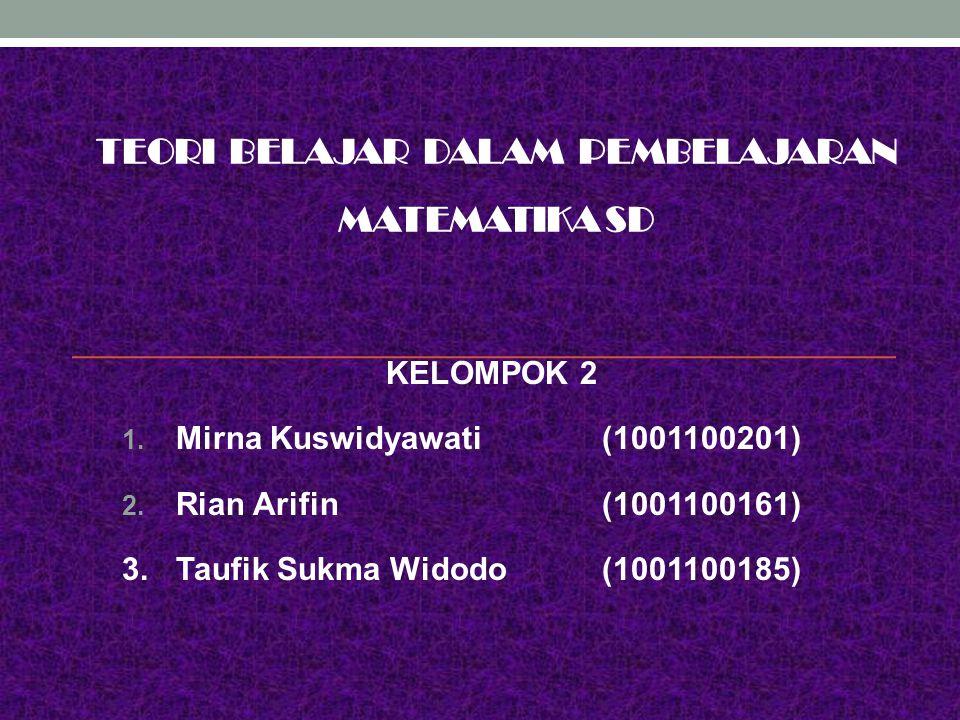 TEORI BELAJAR DALAM PEMBELAJARAN MATEMATIKA SD KELOMPOK 2 1. Mirna Kuswidyawati(1001100201) 2. Rian Arifin(1001100161) 3.Taufik Sukma Widodo (10011001