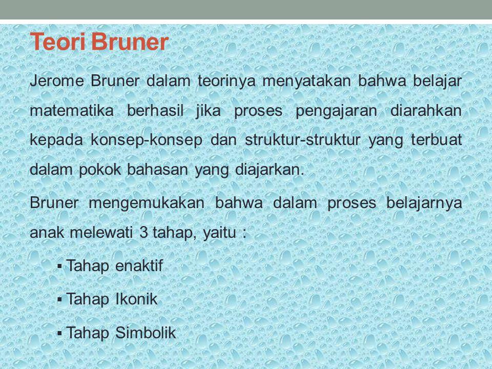 Teori Bruner Jerome Bruner dalam teorinya menyatakan bahwa belajar matematika berhasil jika proses pengajaran diarahkan kepada konsep-konsep dan struk