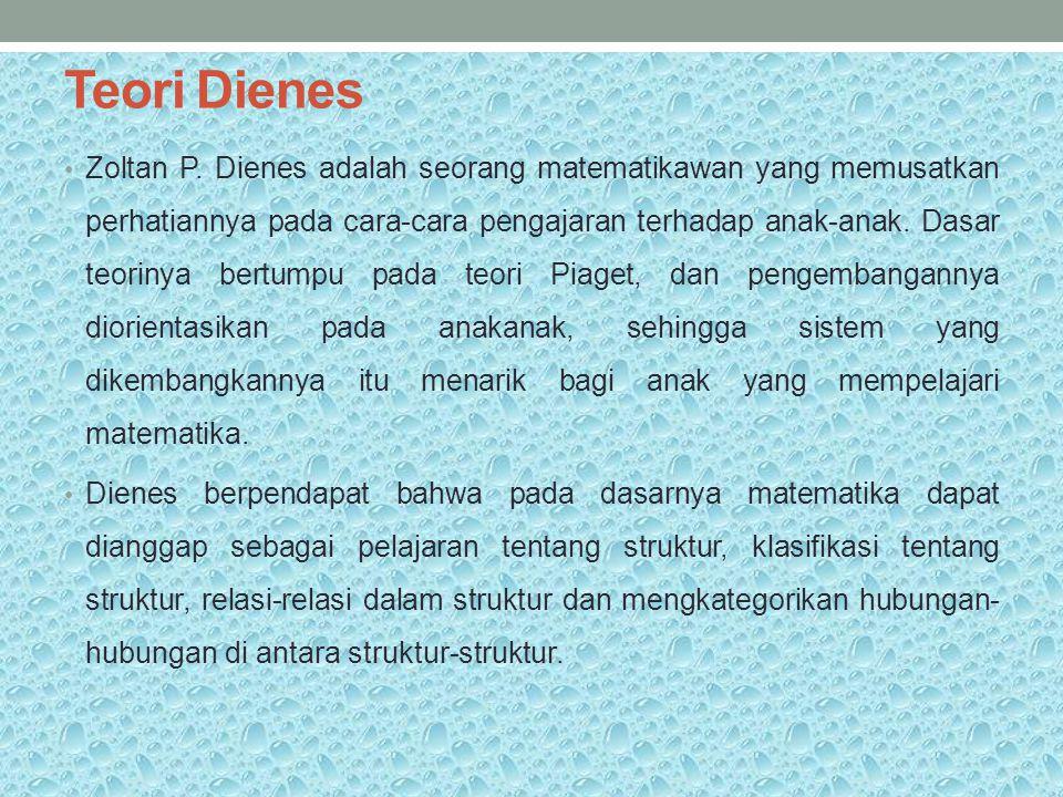 Teori Dienes Zoltan P. Dienes adalah seorang matematikawan yang memusatkan perhatiannya pada cara-cara pengajaran terhadap anak-anak. Dasar teorinya b
