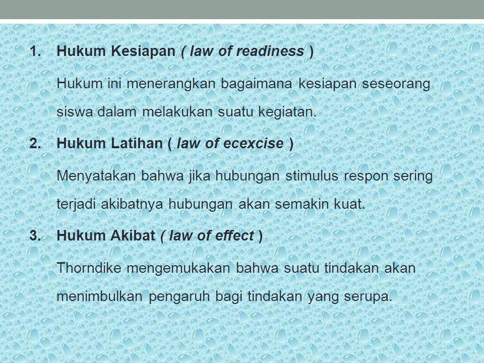 1.Hukum Kesiapan ( law of readiness ) Hukum ini menerangkan bagaimana kesiapan seseorang siswa dalam melakukan suatu kegiatan. 2.Hukum Latihan ( law o