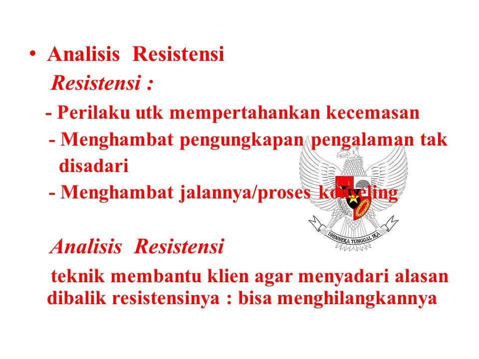 Analisis Resistensi Resistensi : - Perilaku utk mempertahankan kecemasan - Menghambat pengungkapan pengalaman tak disadari - Menghambat jalannya/prose