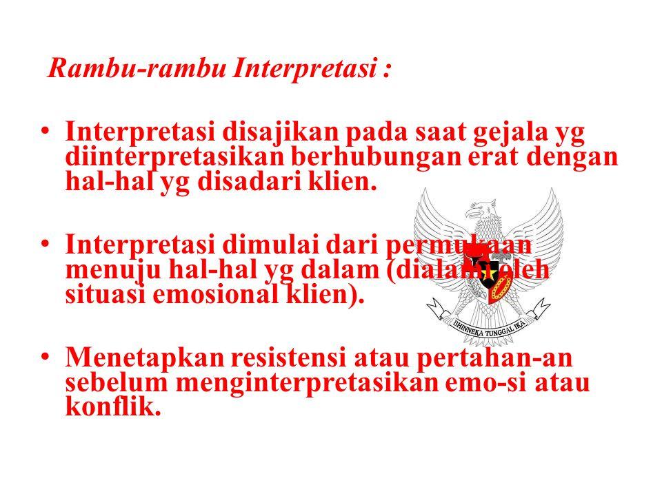 Rambu-rambu Interpretasi : Interpretasi disajikan pada saat gejala yg diinterpretasikan berhubungan erat dengan hal-hal yg disadari klien. Interpretas