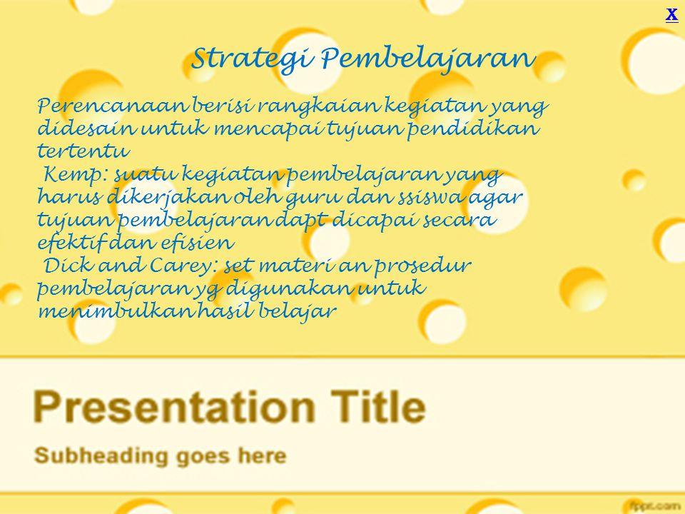 Metode, strategi, pendekatan Alat untuk implementasi rencana tindakan yang sudah disusun dalam kegiatan nyata agar tujuan tercapai Strategi dapat melliputi beberapa metodeStrategi menunjuk pada sebuah perencanaan untuk capai tujuan, metode menunjuk pada cara yang dapat digunakan untuk melaksanakan strategi Pendekatan: sudut pandang kita terhadap proses pembelajaran Teknik: cara untuk mengimplementasi metode X