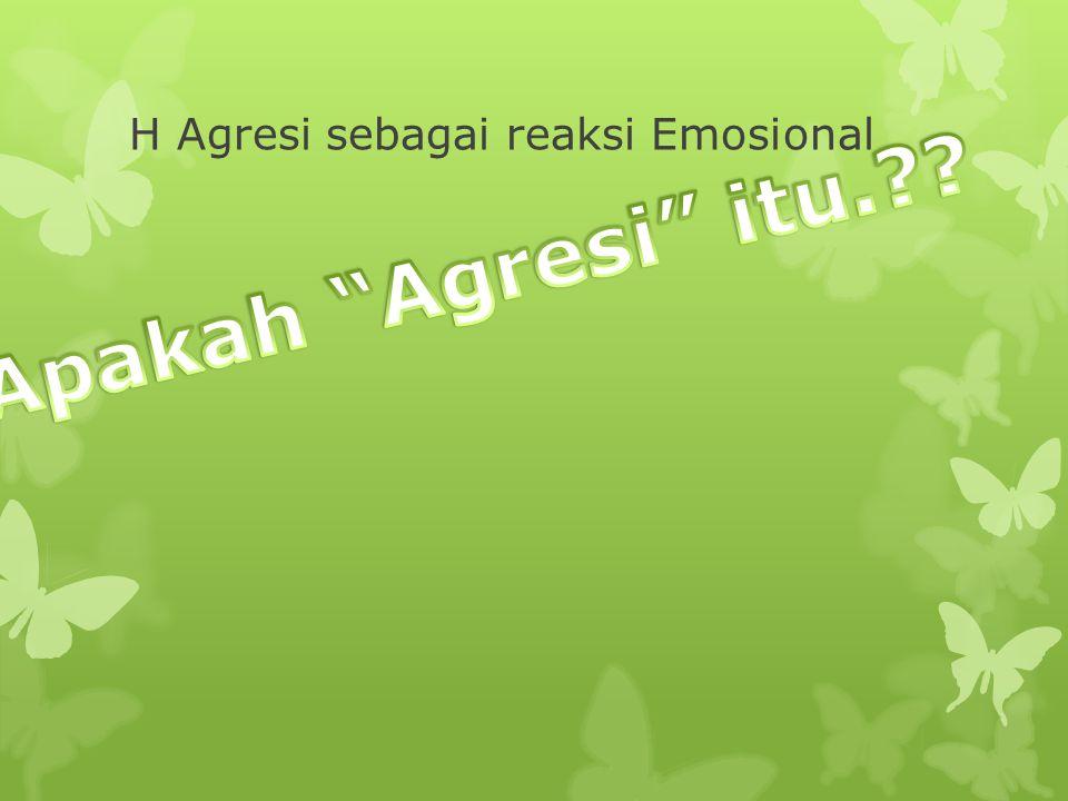 H Agresi sebagai reaksi Emosional