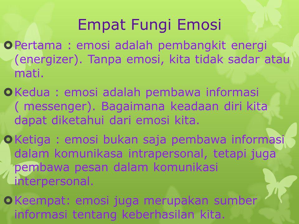Empat Fungi Emosi  Pertama : emosi adalah pembangkit energi (energizer).