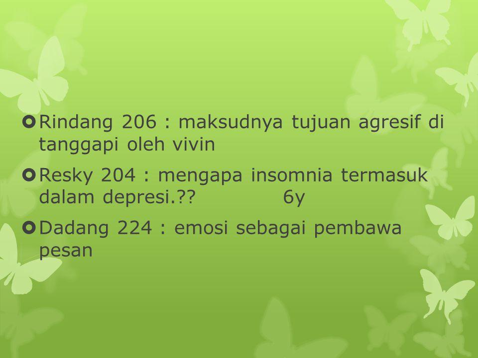  Rindang 206 : maksudnya tujuan agresif di tanggapi oleh vivin  Resky 204 : mengapa insomnia termasuk dalam depresi.?.