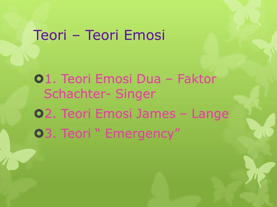 Teori – Teori Emosi  1.Teori Emosi Dua – Faktor Schachter- Singer  2.