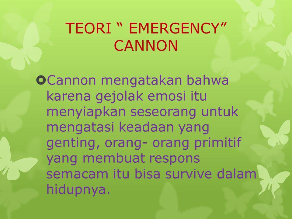TEORI EMERGENCY CANNON  Cannon mengatakan bahwa karena gejolak emosi itu menyiapkan seseorang untuk mengatasi keadaan yang genting, orang- orang primitif yang membuat respons semacam itu bisa survive dalam hidupnya.