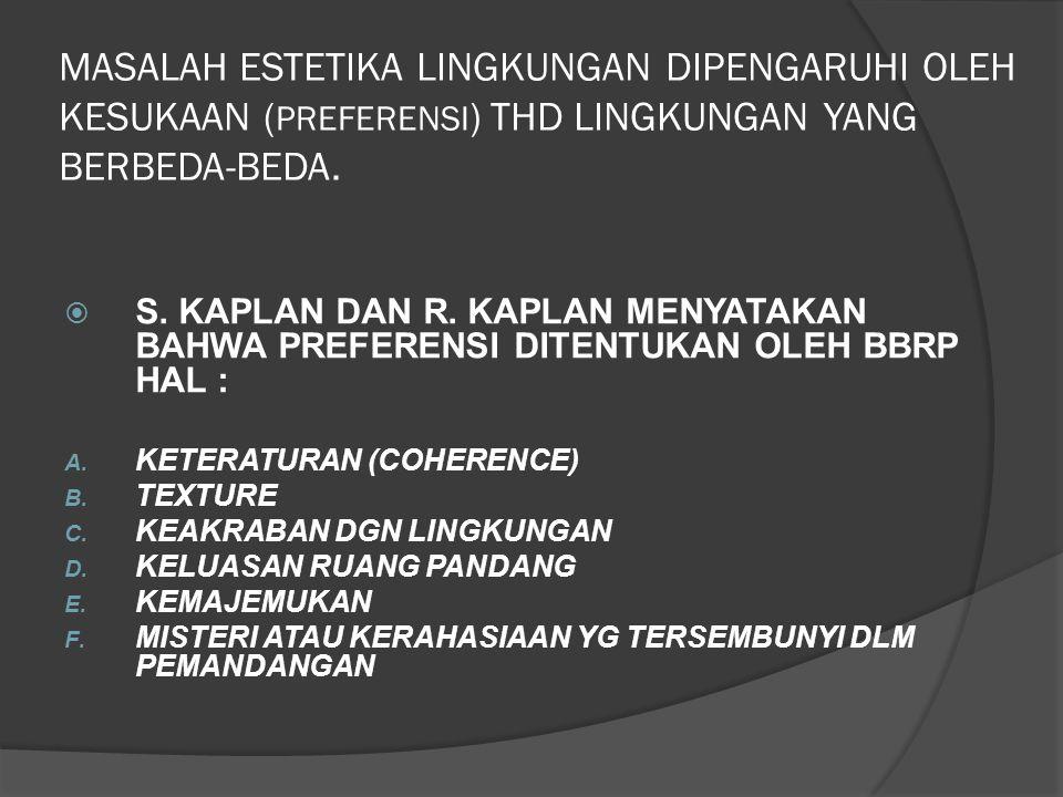 MASALAH ESTETIKA LINGKUNGAN DIPENGARUHI OLEH KESUKAAN ( PREFERENSI ) THD LINGKUNGAN YANG BERBEDA-BEDA.  S. KAPLAN DAN R. KAPLAN MENYATAKAN BAHWA PREF