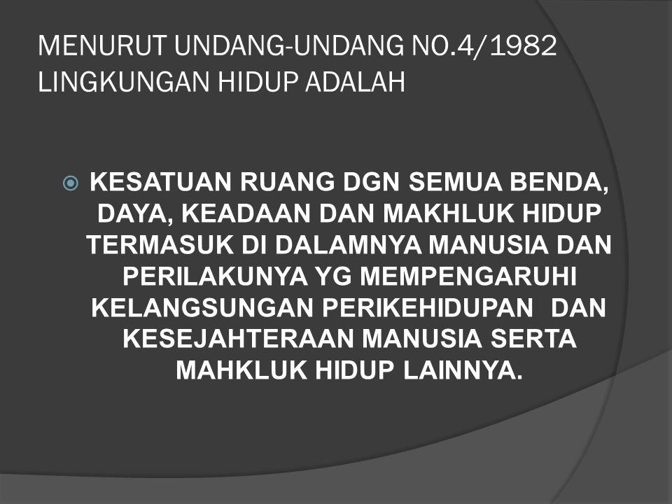 MENURUT UNDANG-UNDANG NO.4/1982 LINGKUNGAN HIDUP ADALAH  KESATUAN RUANG DGN SEMUA BENDA, DAYA, KEADAAN DAN MAKHLUK HIDUP TERMASUK DI DALAMNYA MANUSIA