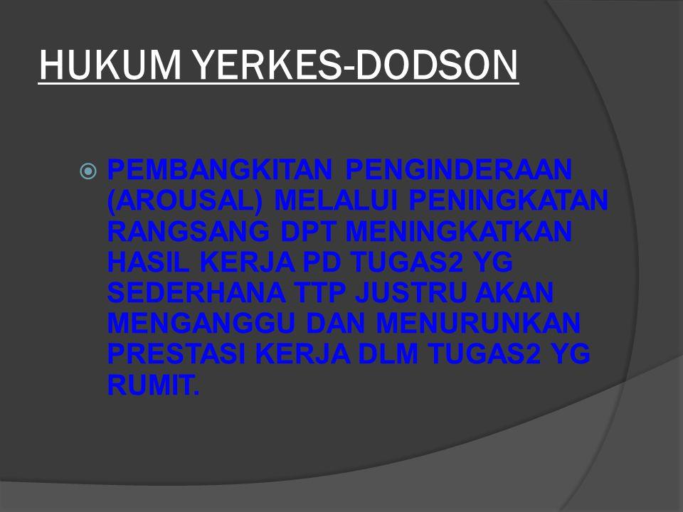 HUKUM YERKES-DODSON  PEMBANGKITAN PENGINDERAAN (AROUSAL) MELALUI PENINGKATAN RANGSANG DPT MENINGKATKAN HASIL KERJA PD TUGAS2 YG SEDERHANA TTP JUSTRU