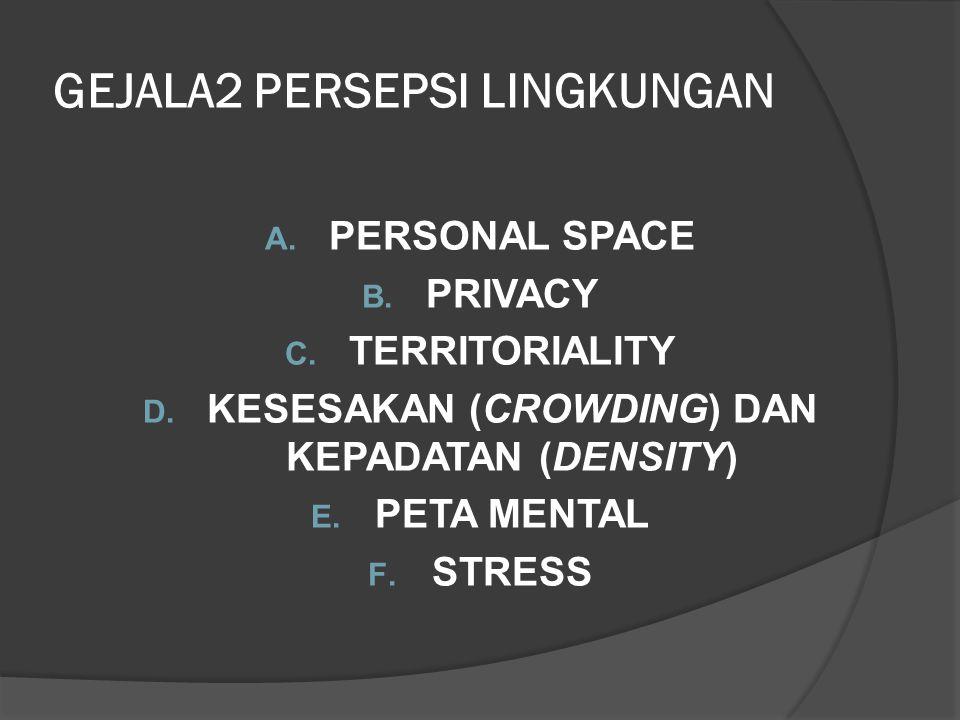 GEJALA2 PERSEPSI LINGKUNGAN A. PERSONAL SPACE B. PRIVACY C. TERRITORIALITY D. KESESAKAN (CROWDING) DAN KEPADATAN (DENSITY) E. PETA MENTAL F. STRESS