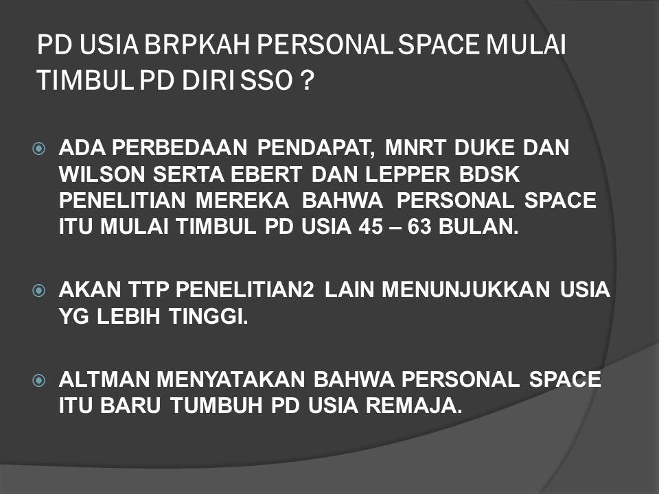 TIPE KEPRIBADIAN SSO BERPENGARUH PD PERSONAL SPACE DDUKE DAN NOWICKI MENGUNGKAPKAN BAHWA ORANG DGN TIPE KEPRIBADIAN EKSTERNAL MEMERLUKAN JARAK PERSONAL SPACE YG LEBIH BESAR DIBANDINGKAN ORANG BERTIPE INTERNAL.