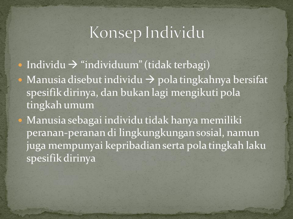 Individu  individuum (tidak terbagi) Manusia disebut individu  pola tingkahnya bersifat spesifik dirinya, dan bukan lagi mengikuti pola tingkah umum Manusia sebagai individu tidak hanya memiliki peranan-peranan di lingkungkungan sosial, namun juga mempunyai kepribadian serta pola tingkah laku spesifik dirinya