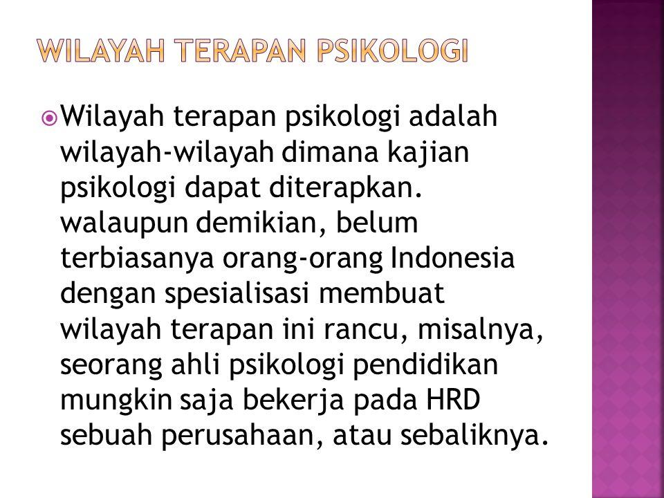  Wilayah terapan psikologi adalah wilayah-wilayah dimana kajian psikologi dapat diterapkan. walaupun demikian, belum terbiasanya orang-orang Indonesi