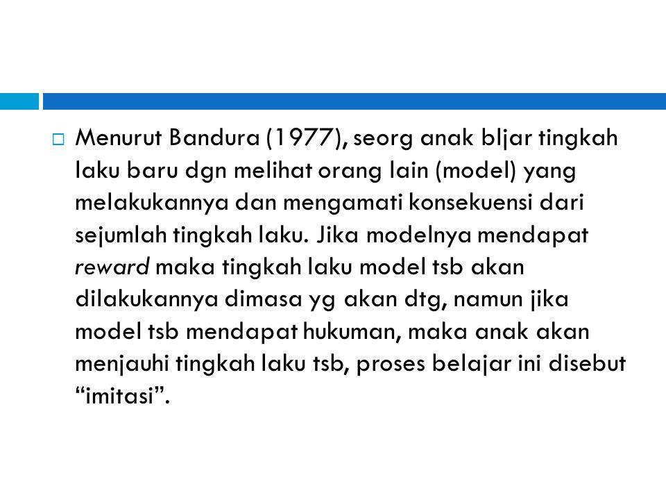  Menurut Bandura (1977), seorg anak bljar tingkah laku baru dgn melihat orang lain (model) yang melakukannya dan mengamati konsekuensi dari sejumlah