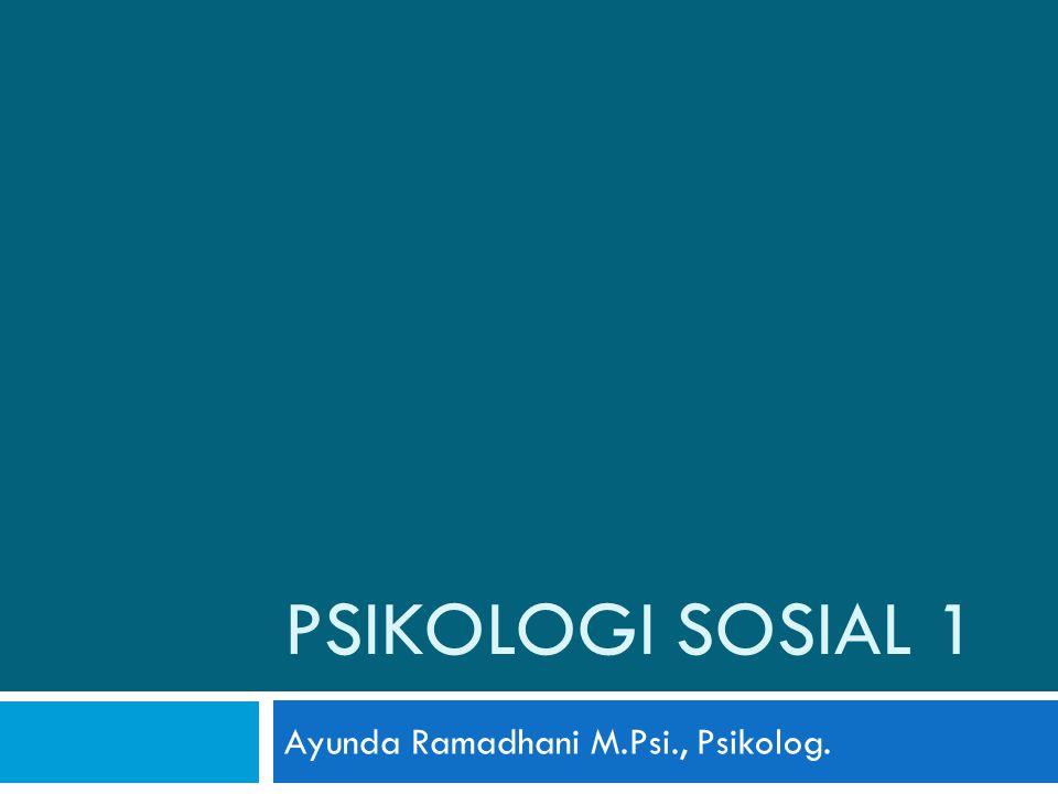 PSIKOLOGI SOSIAL 1 Ayunda Ramadhani M.Psi., Psikolog.