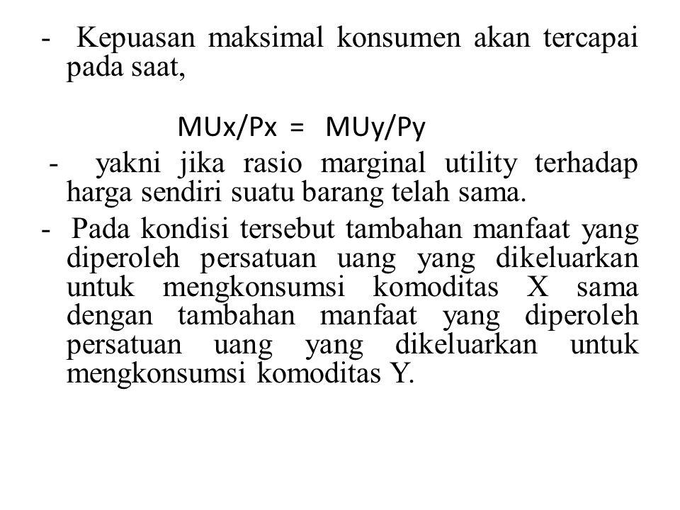 - Kepuasan maksimal konsumen akan tercapai pada saat, MUx/Px = MUy/Py - yakni jika rasio marginal utility terhadap harga sendiri suatu barang telah sa