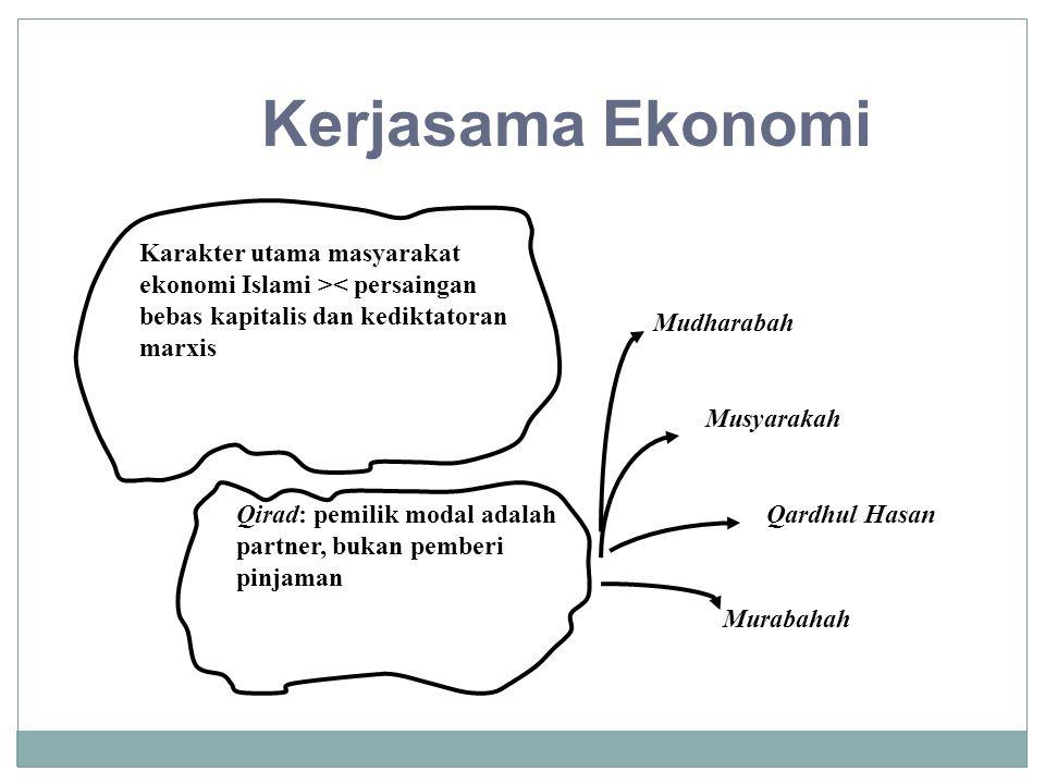 Kerjasama Ekonomi Karakter utama masyarakat ekonomi Islami >< persaingan bebas kapitalis dan kediktatoran marxis Qirad: pemilik modal adalah partner,