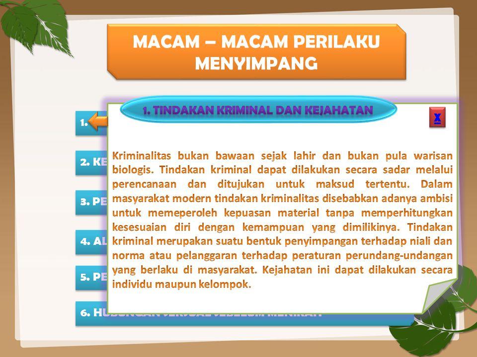 MACAM – MACAM PERILAKU MENYIMPANG 1. TINDAKAN KRIMINAL DAN KEJAHATAN 2. KENAKALAN ANAK 3. PENYIMPANGAN SEKSUAL 4. ALKOHOLISME 5. PENYALAH GUNAAN NARKO